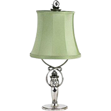 Georg Jensen Sterling Silver Lamp with Silk Shade