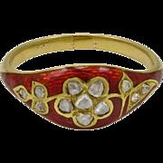 Georgian Rose Diamond Red Enamel Ring