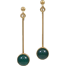 Georg Jensen 18kt Gold Earrings with Green Agate M.Stephensen