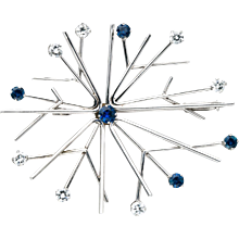 Georg Jensen 'Snowflake' Brooch in Gold, Diamond and Sapphires