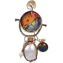 William Harper Brooch Gold with Enamel & Pearls
