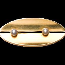 Georg Jensen Gold & Pearl Brooch No. 1350A