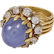 Italian Gold Ring with Star Sapphire & Diamonds