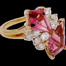Oscar Heyman Diamond & Pink Tourmaline in Platinum & 18KT Gold