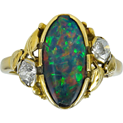 Oakes Studios Gold Ring with Opal & Diamonds
