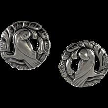 Georg Jensen Silver 'Dove' Earrings No. 66