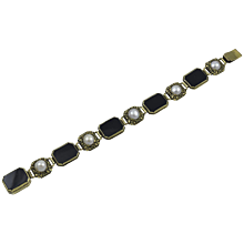 American Arts & Crafts Period Gold Bracelet with Onyx and Pearls by Edward Oakes