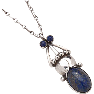 Georg Jensen Pendant Necklace No. 78 with Lapis