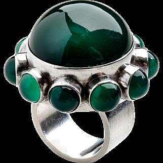 Danish Modern Georg Jensen Ring No. 166 with Green Agate by Astrid Fog