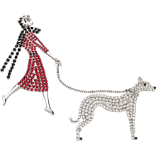 Butler & Wilson Rhinestone Lady Walking Her Dog Brooch
