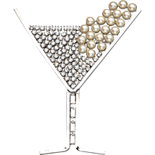 Butler & Wilson Rhinestone Martini with Pearls Brooch