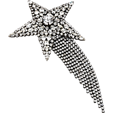 Butler & Wilson Rhinestone Shooting Star with Dangling Tail Brooch