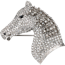 Butler & Wilson Rhinestone Horse Head with Dangling Mane Brooch