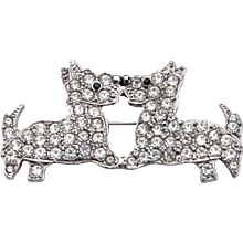 Butler & Wilson Rhinestone Kissing Scottie Couple Brooch
