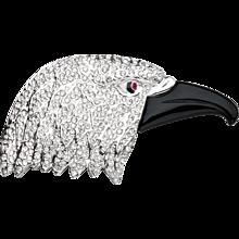 Butler & Wilson Rhinestone Eagle Head Brooch