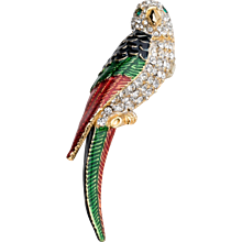 Butler & Wilson Parrot with Black, Green, Red Enamel Rhinestone Brooch