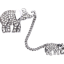 Butler & Wilson Rhinestone Pair of Walking Elephants Brooch