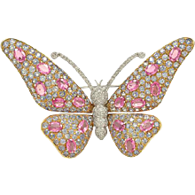 1980s Pink Sapphire and Diamond Brooch