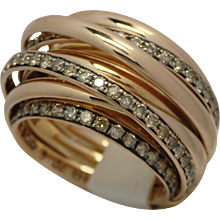 DeGrisogono 18k Pink Gold Allegra Diamond Ring