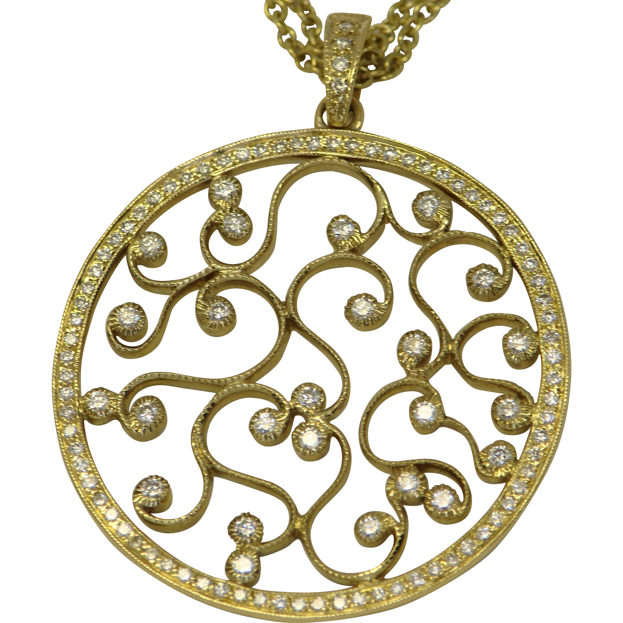 Diamond 18k yellow gold pendant joyce groussman estate for Fine jewelry diamond pendants