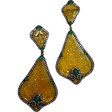 Pair of Yellow Jade Earrings by Bochic