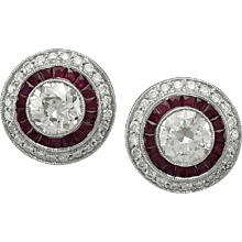 platinum ruby diamond with center round diamond earring
