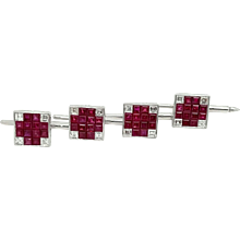 Platinum Diamond Ruby Cufflinks