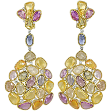 Multi Color Sapphire & Diamond Earrings