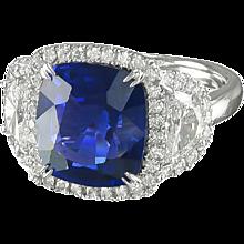 Blue sapphire & Diamond Platinum Ring
