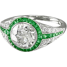Round Diamond & Emerald Ring