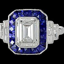 Platinum Sapphire Diamond Ring
