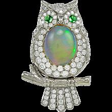 Platinum Green Garnet Diamond and Opal Ring
