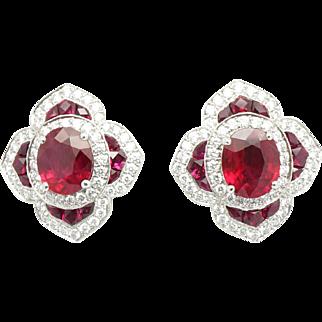 Platinum ruby earring