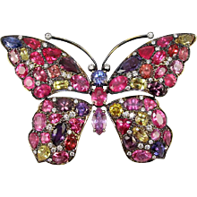 PAPILLION 18K Yellow gold, precious spinell sapphire and diamond butterfly brooch Caroline Nelson