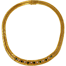 Diamond & Emerald Herringbone Necklace