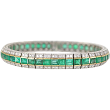 Diamond & Emerald 'Railroad' Bracelet