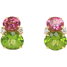 Pink Tourmaline & Peridot Twin Stone Earrings by Caroline Nelson
