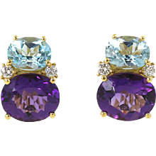 Small Twin Stone Earrings Amethyst and Blue Topaz Caroline Nelson