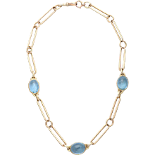 Antique Watch Chain with Cabochon Aquamarines