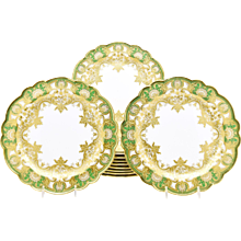 Set of 12 Royal Worcester Green Dinner Plates with Raised Paste Gold & Shaped Rim