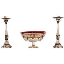 Moser Three-Piece Centerpiece in Ruby Red, Hand-Painted Enamel and Gold