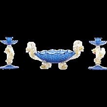 Figural Three-Piece Murano Venetian Salviati Centerpiece w/ Dolphins & Dragons