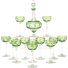 Webb Handblown Apple Green Overlay Crystal Decanter Set W/ 12 Cordials