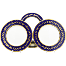 Set of 12 Minton for Tiffany Cobalt & Gold Neoclassical Dinner Plates w/ Raised Gold Leaves
