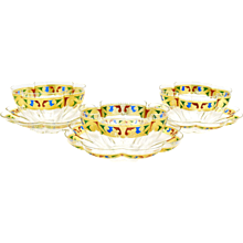 12 Venetian Quatrefoil Dessert Bowls & Plates W/ Blue, Red & Green Jeweltone Enamel