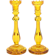 Pair of Monumental Bohemian Amber Crystal Candlesticks