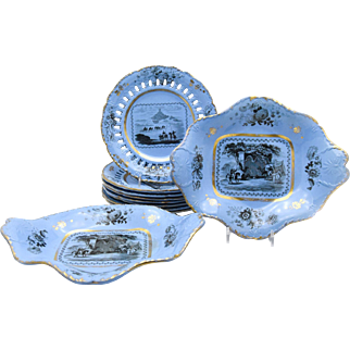 John Ridgways Early 19th Century Ten Piece Dessert Set with Views in Mesopotamia