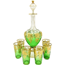 Moser Emerald Green and Gold Decanter and Glasses