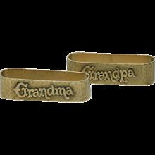 14 Karat Gold Martele Arts and Crafts Napkin Rings