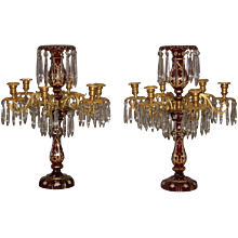 Pair of Bohemian Hand Blown Ruby Crystal and Bronze Candelabra